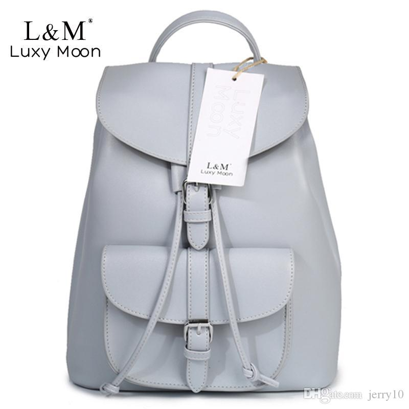 a6e45bd07089 Women Backpack Vintage Leather Backpacks Drawstring Black Rucksack Brand  Shoulder Bags For Teenage Girls Grey School Bag XA950H Backpacker Rucksack  School ...
