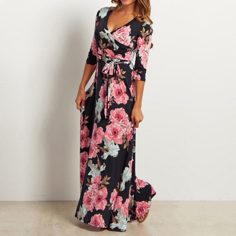 b44ac7199b662 Satın Al Kadınlar Vintage Çiçekli Elbise Üç Çeyrek Uzunluk Kollu Moda V Yaka  Uzun Maxi Elbise Bohemian Elbise #JN, $37.36 | DHgate.Com'da