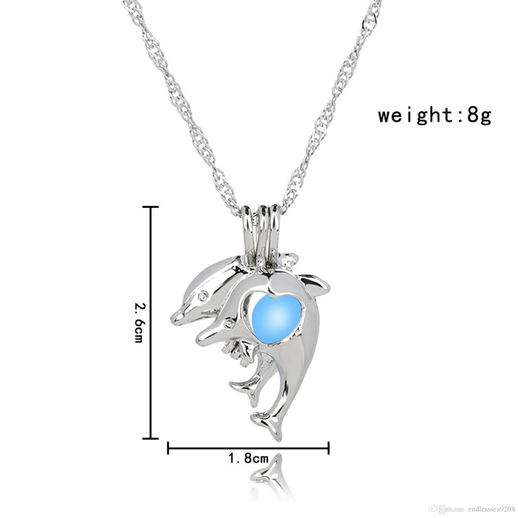 Dolphin Necklace Glow in the Dark Luminous pendant necklaces Jewelry Charm Choker Pendants & Necklaces For Women Best Gift
