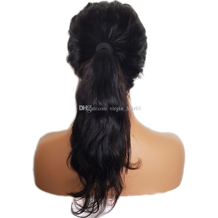 150% Glueless Lace Front Echthaar Perücken mit Pony Remy Haar Wellenförmige brasilianische Perücke mit Baby-Haar gebleicht Knoten 12-24 Zoll