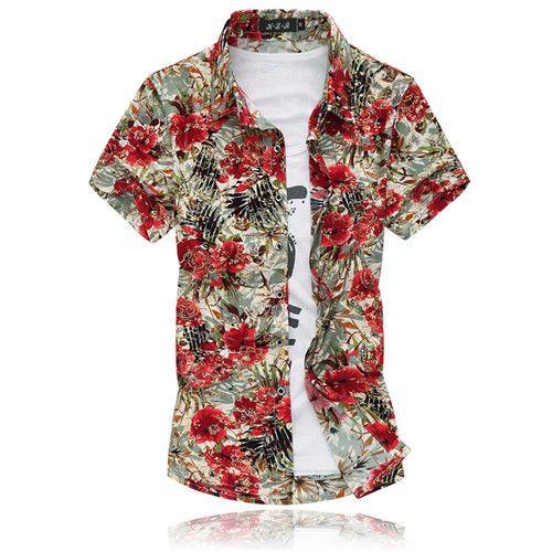 Fashion Short Sleeve Silk Hawaiian Shirt Men Summer Casual Floral Shirts  Men Plus Size 3xl 4xl 5xl 6xl 7xl a3d569a44d79
