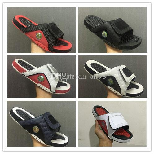 45c1af6acc493 New 13 13s Slippers Hydro Slides Basketball Shoes Blue Black White ...