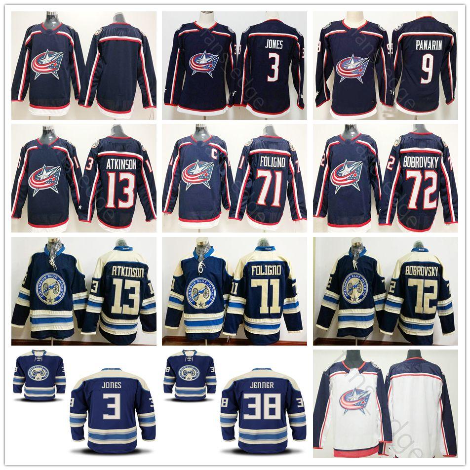 a1648f915 2019 Columbus Blue Jackets Hockey h Jones 9 Artemi Panarin 17 Brandon  Dubinsky 13 Cam Atkinson 71 Nick Foligno 72 Sergei Bobrovsky Jersey From  Heimei shop