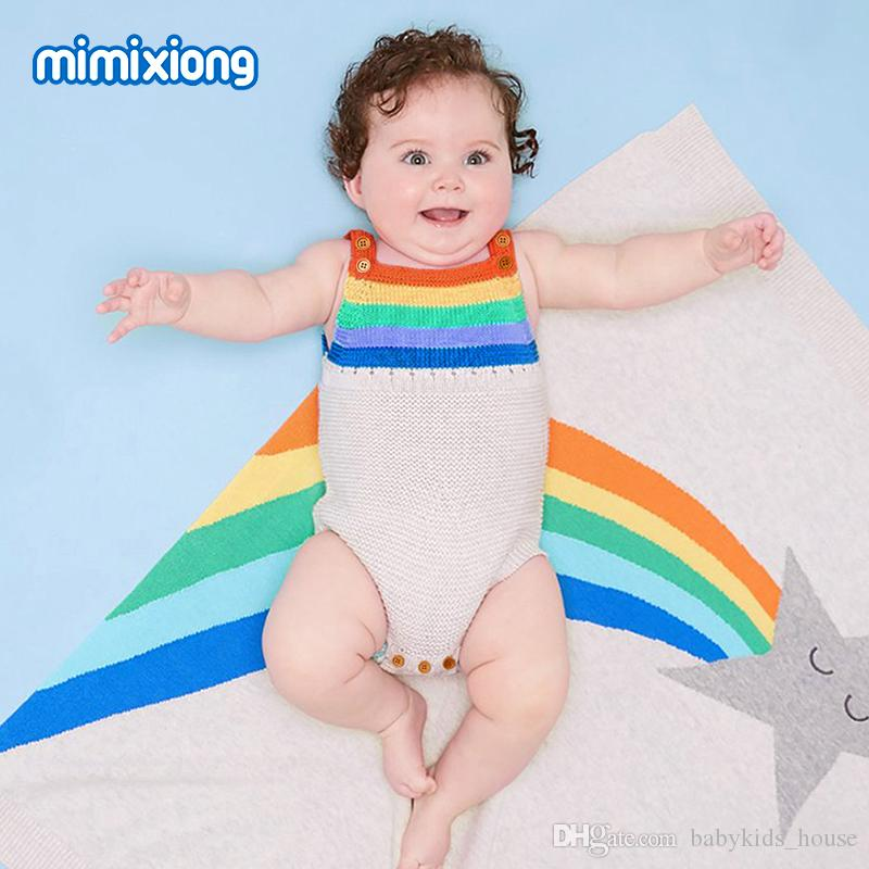 e4d8b6152bfe 2019 Rainbow Knitted Newborn Bodysuit Summer Baby Bunny Sunsuits 2018 Funny Infant  Boys Girls Onesie Sleeveless Toddler Kids Jumpsuit From Babykids house