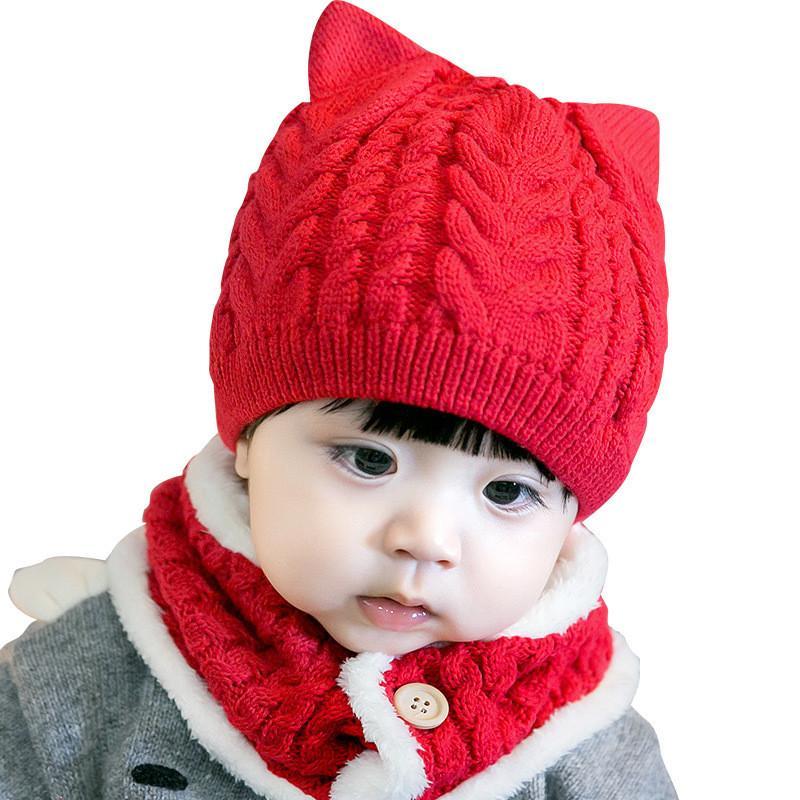43fff5c65152 Acheter 3 6 12 Mois 2019 Nouveaux Enfants Bébé Hiver Chaud Tricoté Chapeau  Enfants Cap Bonnet Écharpe Pour Garçons Filles Skullies Bonnets AD0710 De   32.37 ...