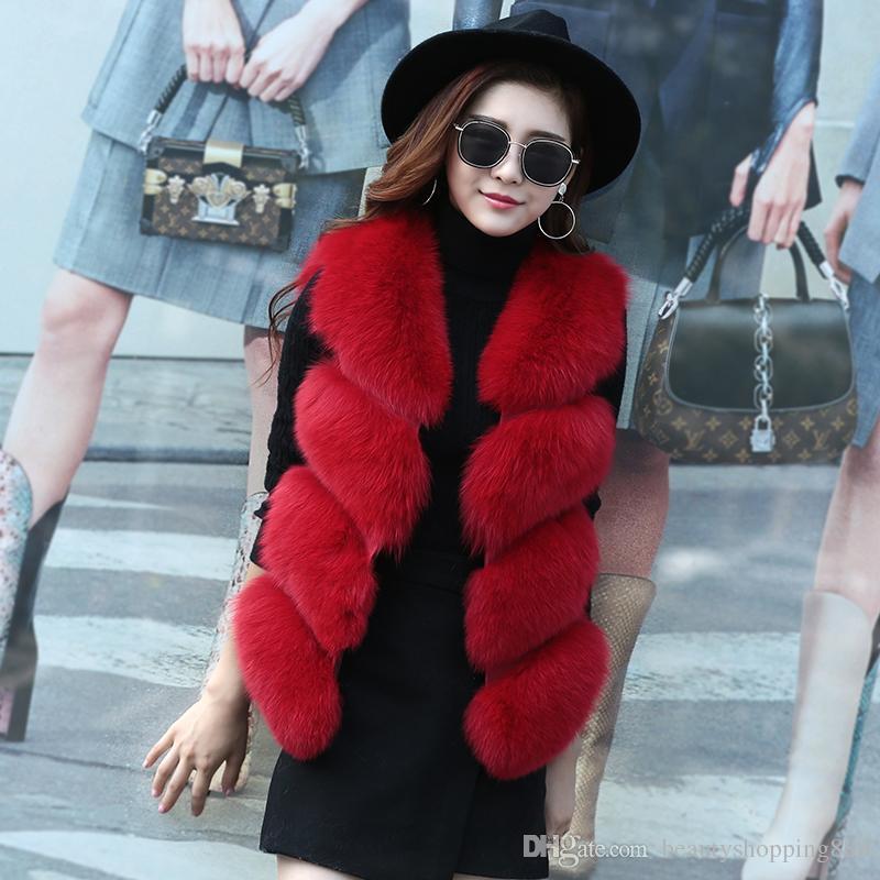 1ca22bb1404 2019 2018 Autumn Winter New Design Women S Sleeveless Luxury Real Natural  Fox Fur Short Vest Coat Slim Waist Casacos Plus Size SMLXLXXL From ...