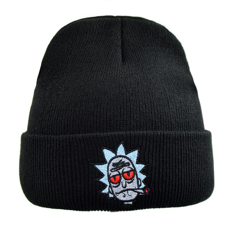 193e3091122 2019 Rick And Morty Hats Elastic Brand Embroidery Cap Warm Winter Unisex  Knitted Hat Ski Bonnet Beanies Gorros Cap From Ekuanfeng