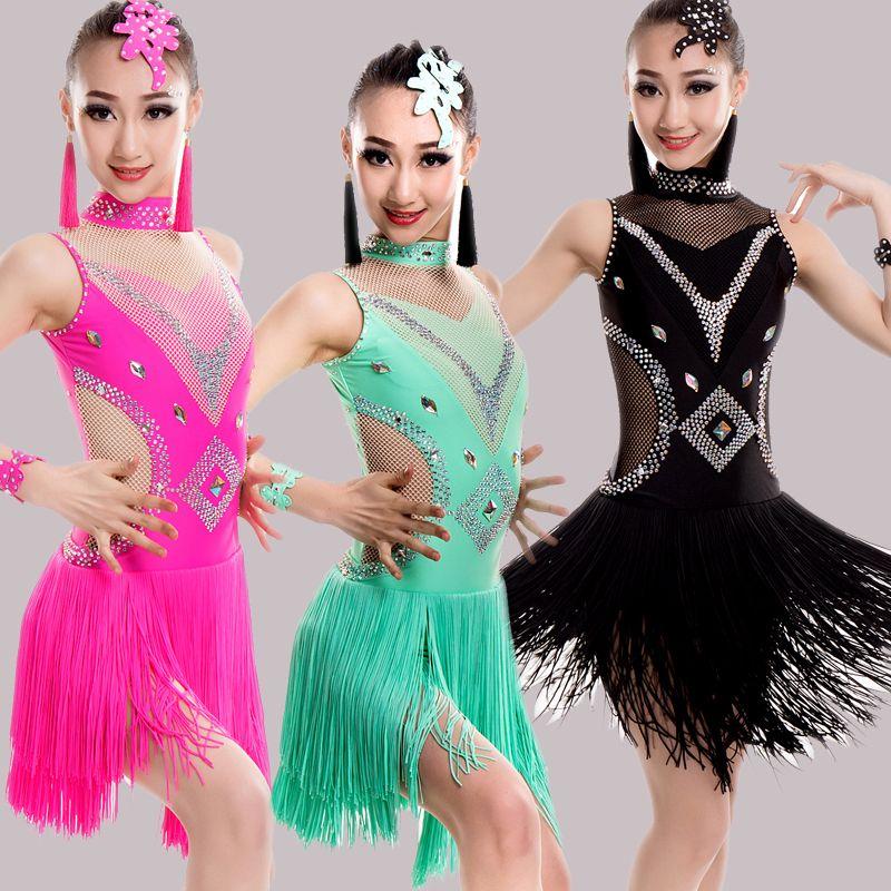 9b2bda419bd5 2018 New Children Fringle Latin Dance Dress Girls Turtle Neck ...