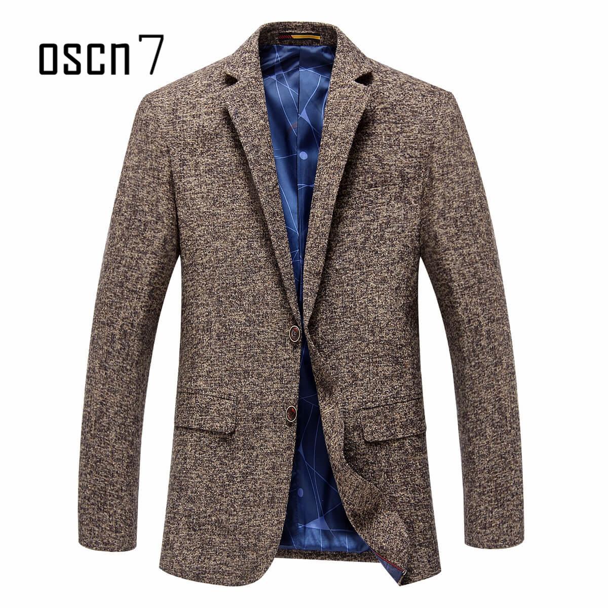 5ca6e7e4563 OSCN7 Woolen Blazer Slim Fit Men Brown Business Leisure Mens Fashionable  Blazer Jackets Plus Size Casual Blaser Masculino Blazer Jacket Blazer Slim Fit  Men ...