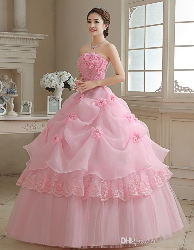 Graceful Crystal Applique Pink Wedding Dresses Lace-up Back Organza Floor-Length Ball Gown Wedding Gowns With Petticoat