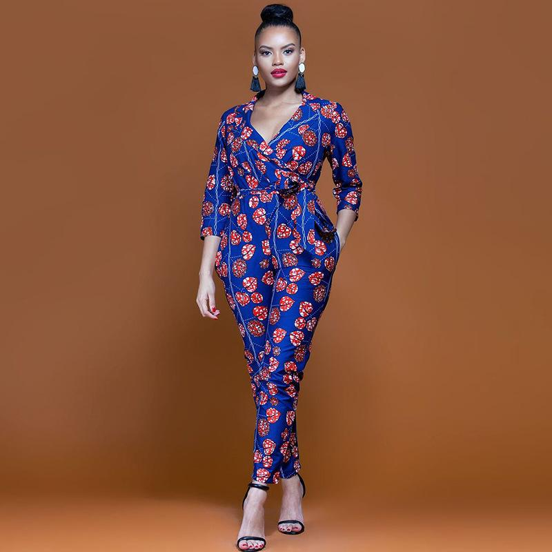 f85171b961a 2019 2018 New Summer Womens Slim Rompers Jumpsuit Women African Print  Clothing Casual Sexy Fashion Party Small Leg Pants Milk Silk From  Blueberry07