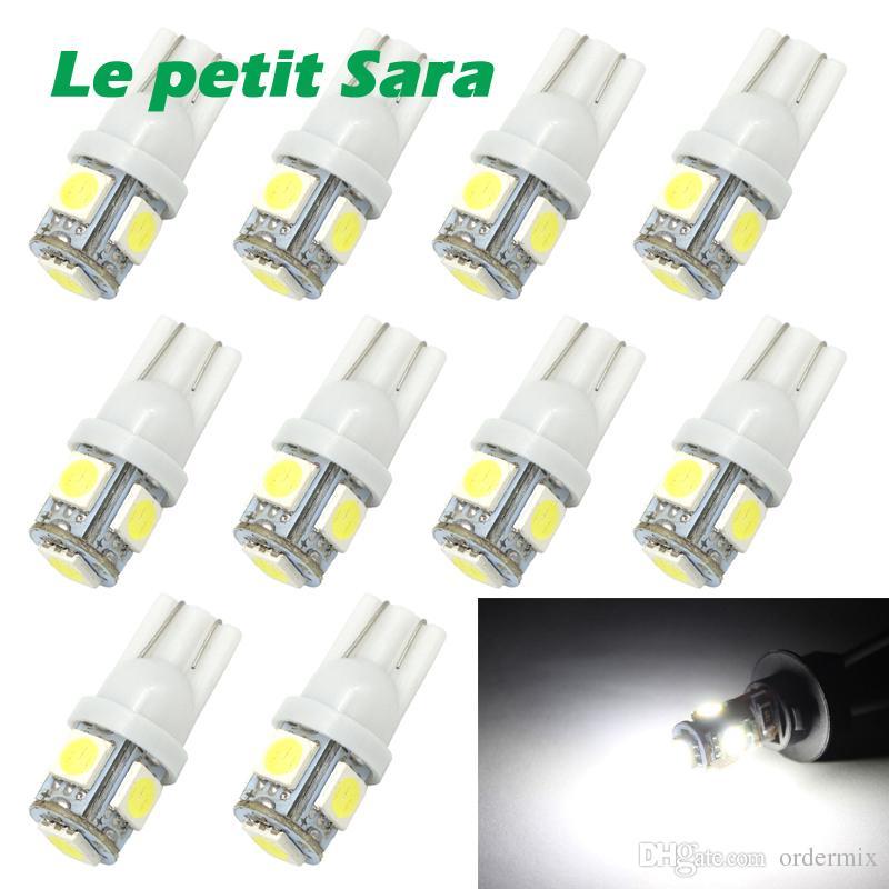 1 unids T10 LED W5W 5050 5SMD 192 168 194 Luces Blancas LED Luz de Coche Bombillas de Cuña Lámpara Super Brillante DC 12 V Luz de la placa de matrícula DRL