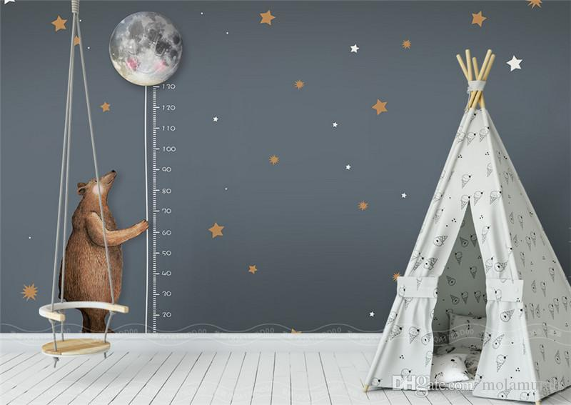custom photo wallpaper high quality non-woven Nordic simple cartoon bear moon measurement height children room background wall