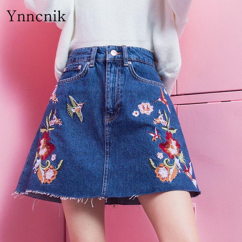 bae0bc490c20 Ynncnik Women's Denim Skirt Floral Birds Embroidery A-line Jeans Skirts  Blue Pockets Jean Mini Skirts Female Casual Wear S1136