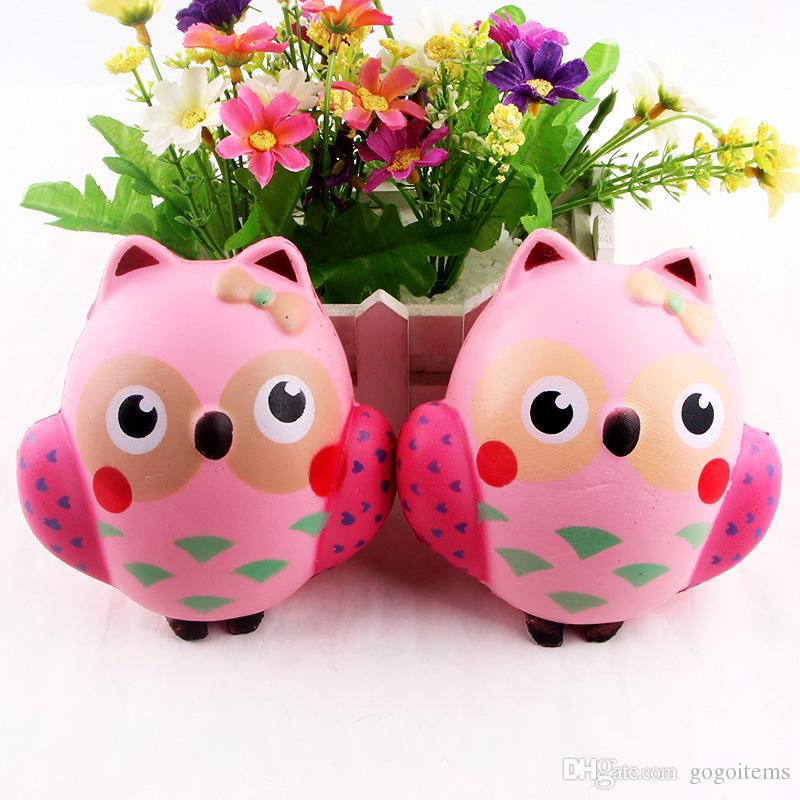 Squishy Pink Owl 11cm Slow Rising Toy Relieve Stress Cake Sweet Animal PU Cell Phone Strap Phone Pendant Key Chain Toy Gift