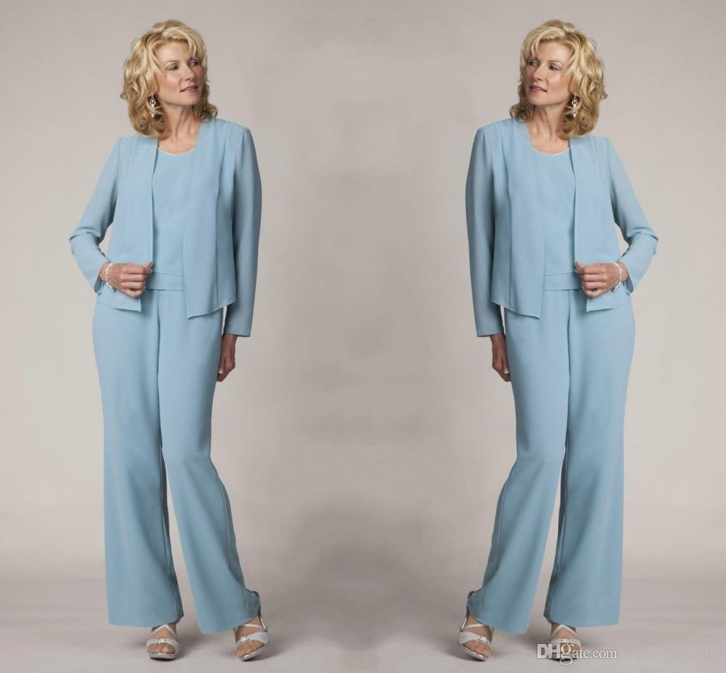 d88e624791103 Light Blue Mother Of The Bride Pant Suits Elegant Formal Evening Dresses Plus  Size Simple Dresses DH4028 Mother Of The Bride Suit Mother Of The Bride Pant  ...