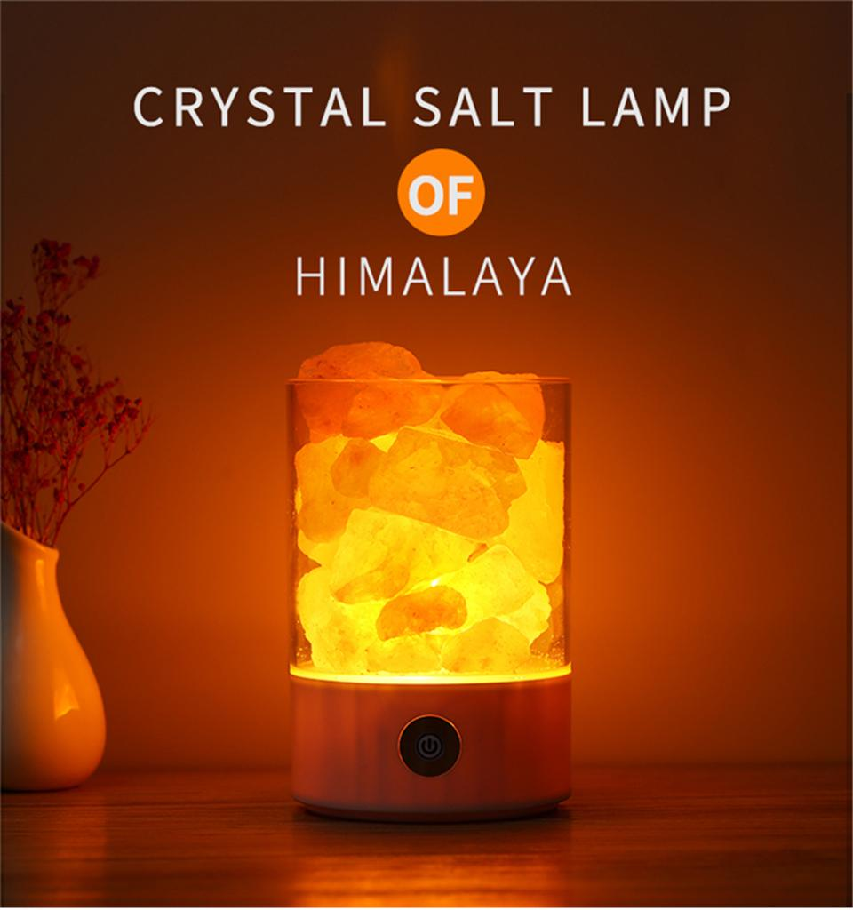 USB Salt Lamp Portable Design Colorful Changing Crystal Light Natural Himalayan Touch Switch Brightness Adjustable Bedroom Night Light