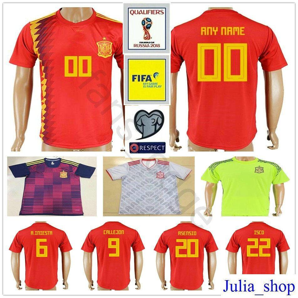 2bd0a5583c 2018 España Copa Del Mundo Soccer Jersey ASENSIO PIQUE MORATA A. INIESTA  SILVA THIAGO CALLEJON SERGIO RAMOS ISCO Custom Home Espana Camiseta De  Fútbol Por ...