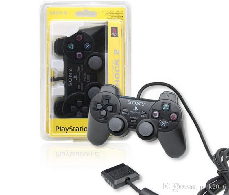 High quality Wired vibration Shock Controller Gamepad Compatible for Playstation 2 PS2 Console Video Games Retail Packaging