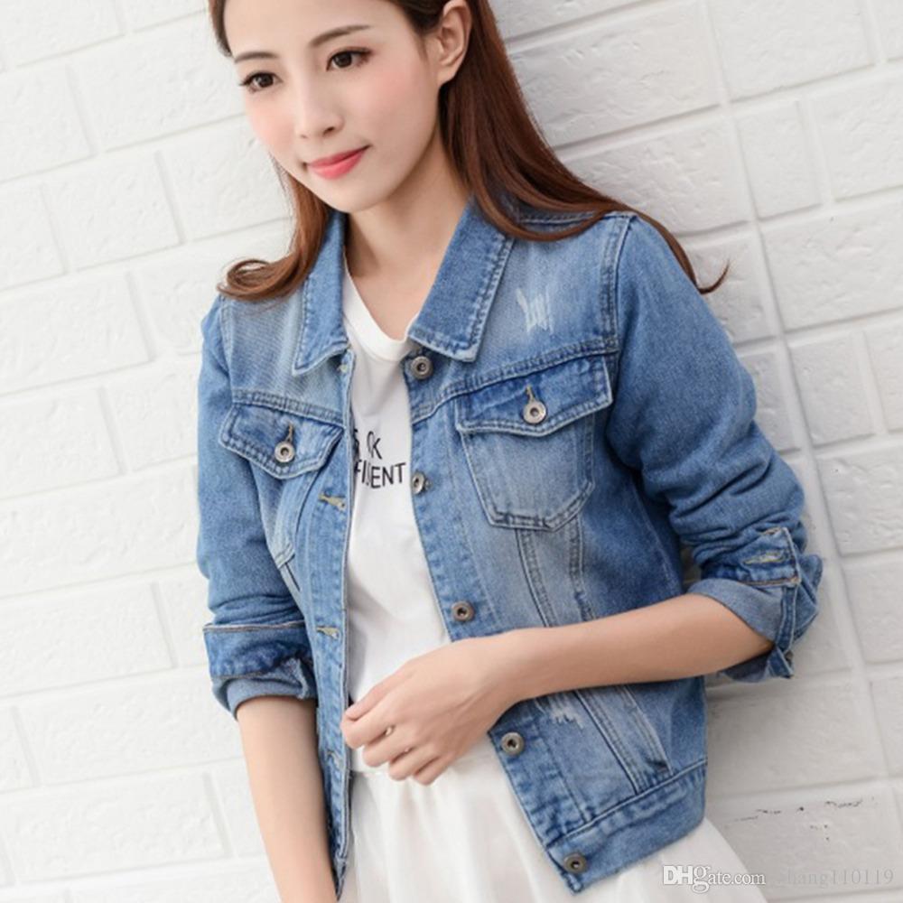e5aa504358fec Cropped Jean Jacket Light Blue Short Denim Jakcets Jaqueta Casual Ripped  Jeans Coat Long Sleeve 2XL Outwear Jacket Casual Jackets Lightweight  Jackets From ...