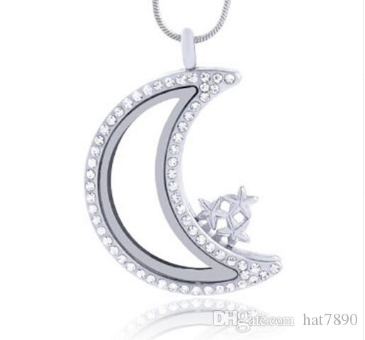 10pc/lot diy hot sale Silver Moon magnetic glass floating charm locket pendant necklace Zinc Alloy (chains included for free)