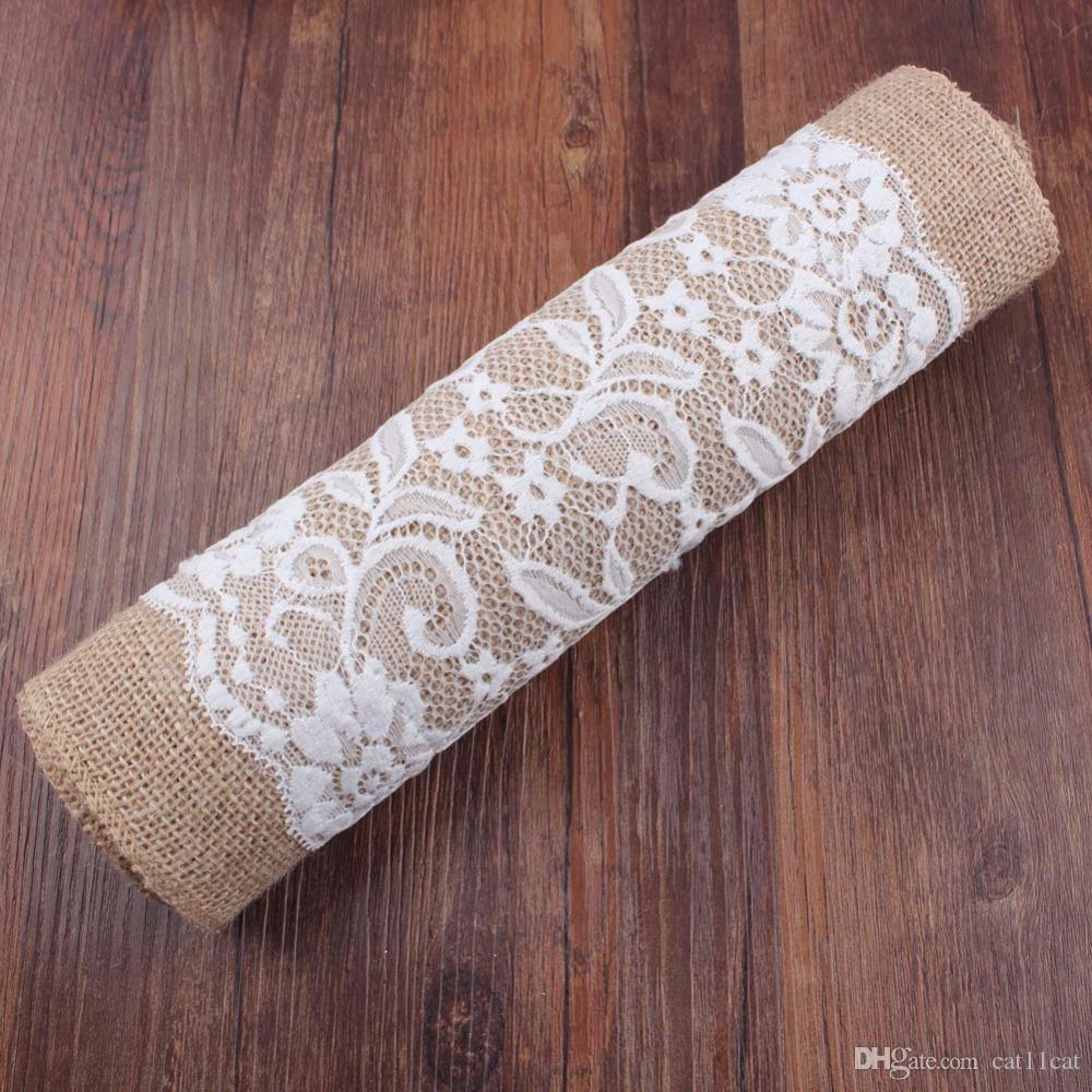 Jute Hessian Vintage Burlap Table Runner Wedding Decoration Knitted Lace  Rustic Party Tablecloth Cover Towel Tea Set Birthday Items For Kids  Birthday Items ...