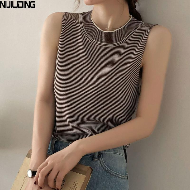 e1028ff98a9fdd 2019 NIJIUDING Sexy Knitted Tank Tops Women Ice Silk Top Vest Button  Striped O Neck Long Tank Tops Blusa Summer Brown Black Sweater From Sheju