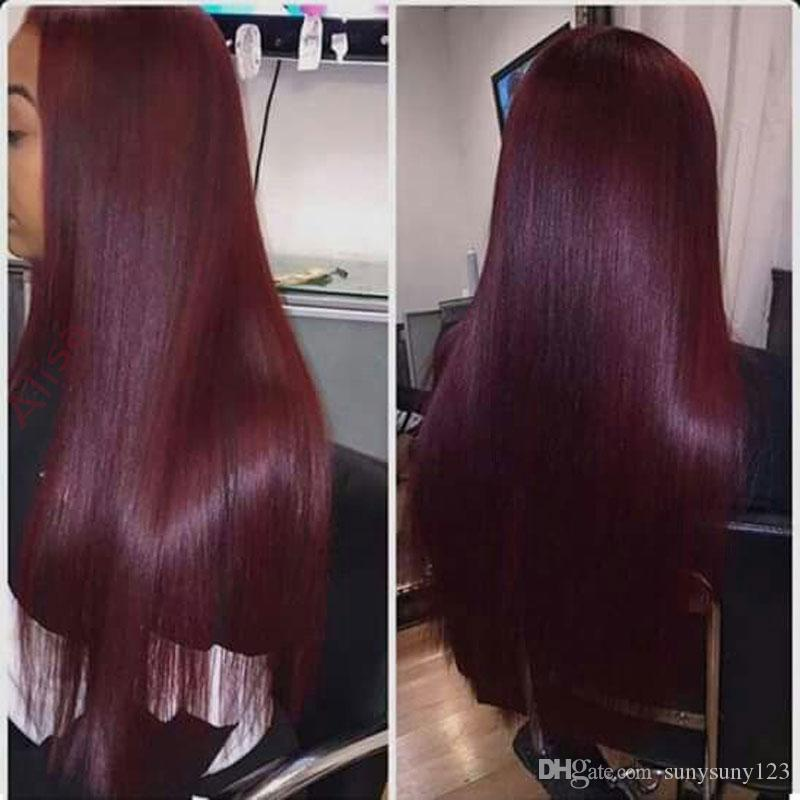 Long Straight Cosplay Wine Red Synthetic Lace Front Wig Heat Resistant None Lace Hair Full Wig with
