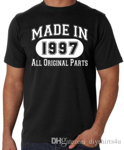 21st Birthday Made In 1997 Original Parts Funny Present Party Mens Black T Shirt Men Cotton Short Sleeve Crewneck Plus Size G White Shirts