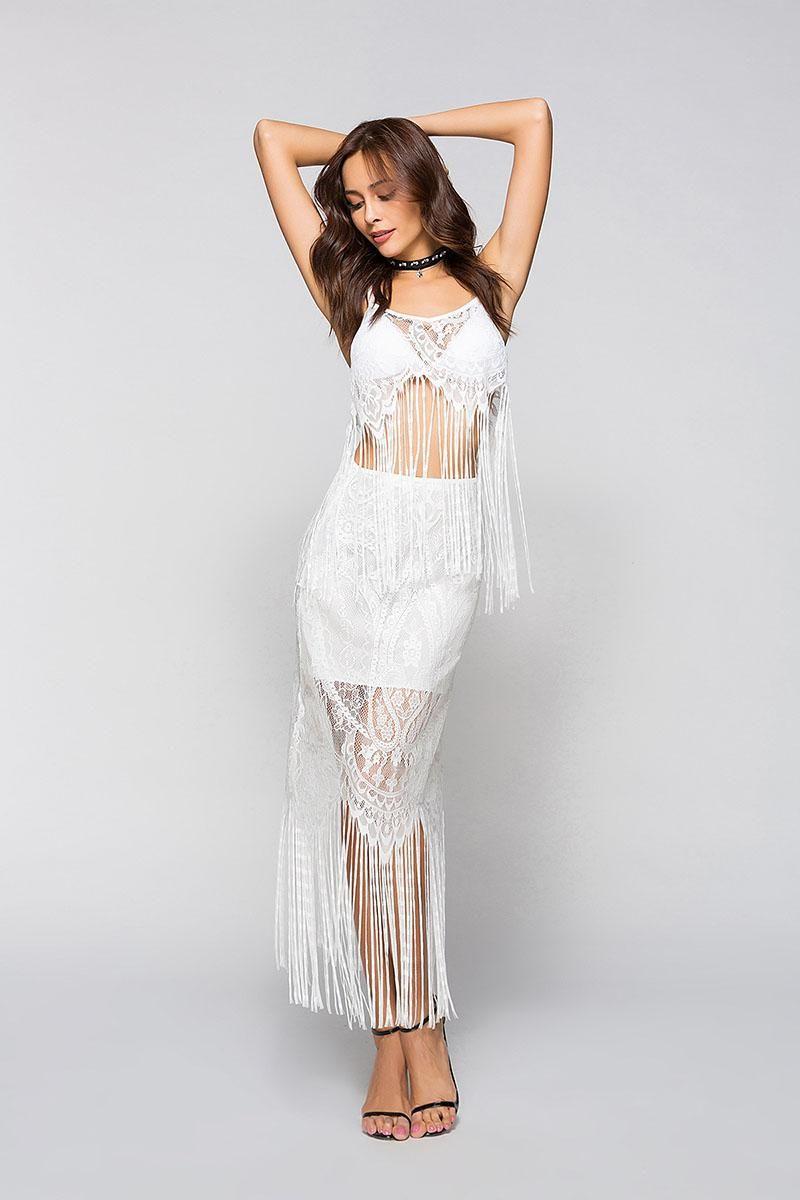 New Women Crochet Swimsuit Cover-up Long Black white Maxi Lace Beach Dress Fashion sexy tassels Long Beachwear Bikini dress