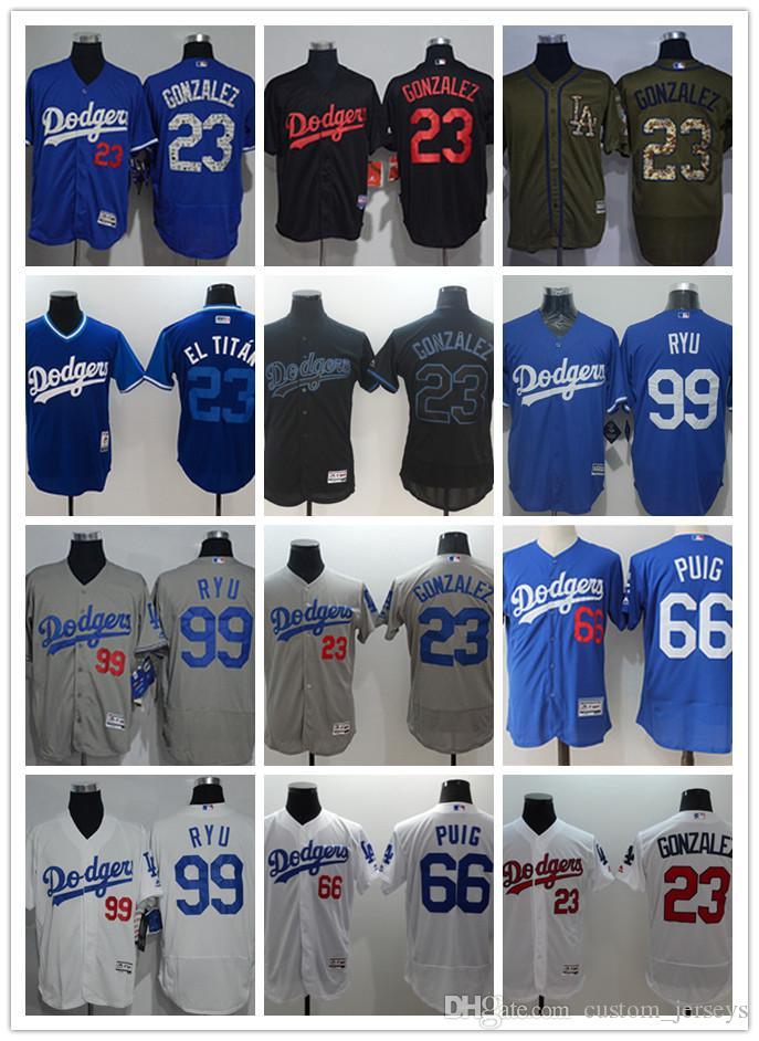 324cbecb3f0 2019 Men Women Youth Los Angeles Custom Dodgers  23 Adrian Gonzalez 66  Yasiel Puig 99 Hyun Jin Ryu Blue Grey White Baseball Jerseys From Tenplus