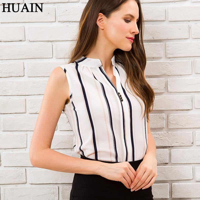 21c4fd2bc2 2019 Striped Blouse Shirt Women V Neck Summer Top Fashion 2018 New Korean  Style Office Ladies Work Wear White Fitness Female Clothing From Hongxigua,  ...