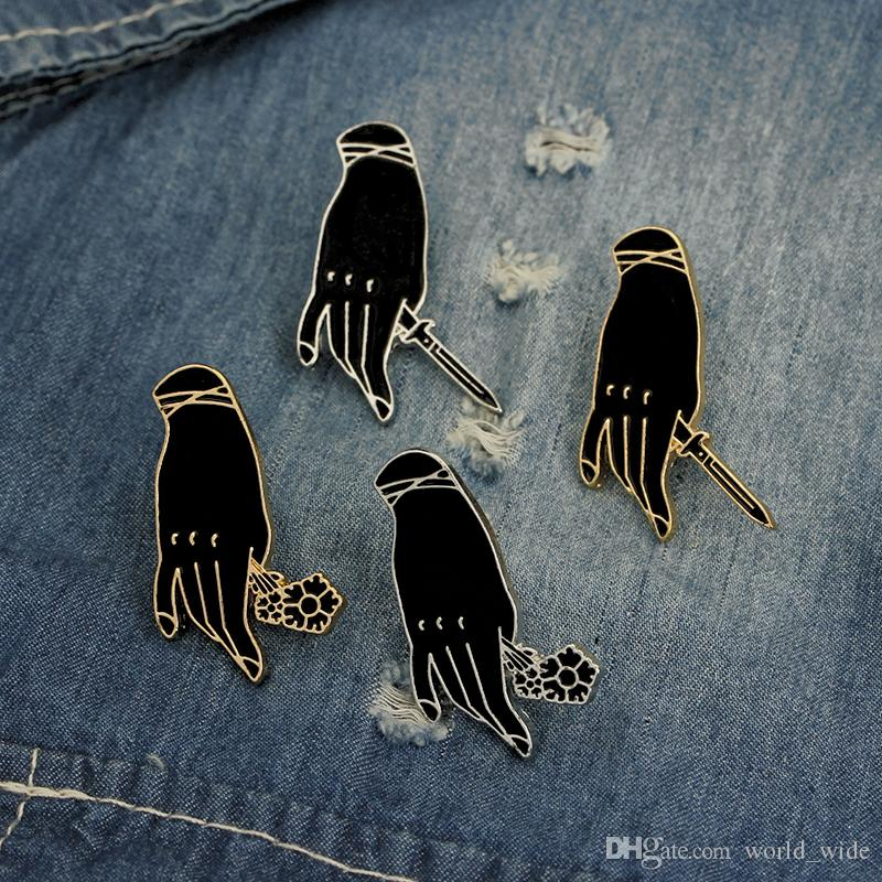 Witch Hand With Rose Flower Knife Enamel Pins Gothic Black Evil Magic Spell Hands Badge Brooch Pins Denim Jacket Gift Jewelry