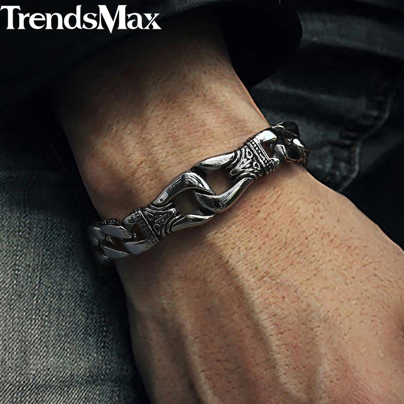 43420803ef3b7 Acheter Trendsmax Bracelet Pour Hommes En Acier Inoxydable 316L Gourmette  Cubain Lien Chaîne Bracelet Totem Nœud Charme Bracelet Hommes Mode Cadeau  HB10 De ...