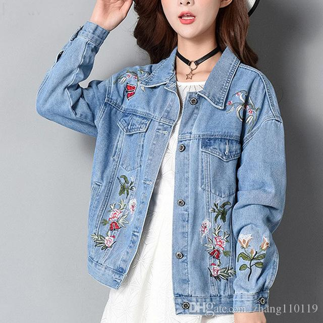 5e0253298a9 Embroidery Women Denim Jacket Korean Pop Casual Female Jeans Coat ...