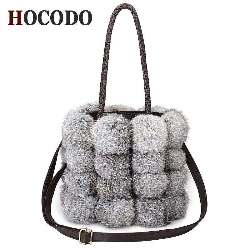 81f1e87af563 HOCODO 2018 New Autumn Winter Women S Bag Cute Rabbit Hair Handbags  Shoulder Bag Brand Designer Pu Leather Skin Crossbody Bags For Men Satchels  From Roseyy