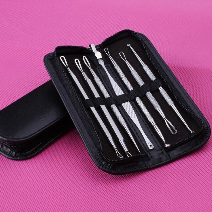 7 Unids / set Removedor de Impermeables de Acné de Acero Inoxidable Aguja Limpiador Espinilla Extractor de Maquillaje Facial Face Cleaning Tools