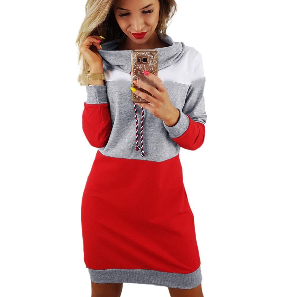 f870df1f85 Compre 2019 Otoño Casual Sudaderas Vestido De Mujer De Manga Larga Negro  Rojo Patchwork Mini Sudaderas Con Capucha Vestidos Femeninos Suéter Largo  Top ...