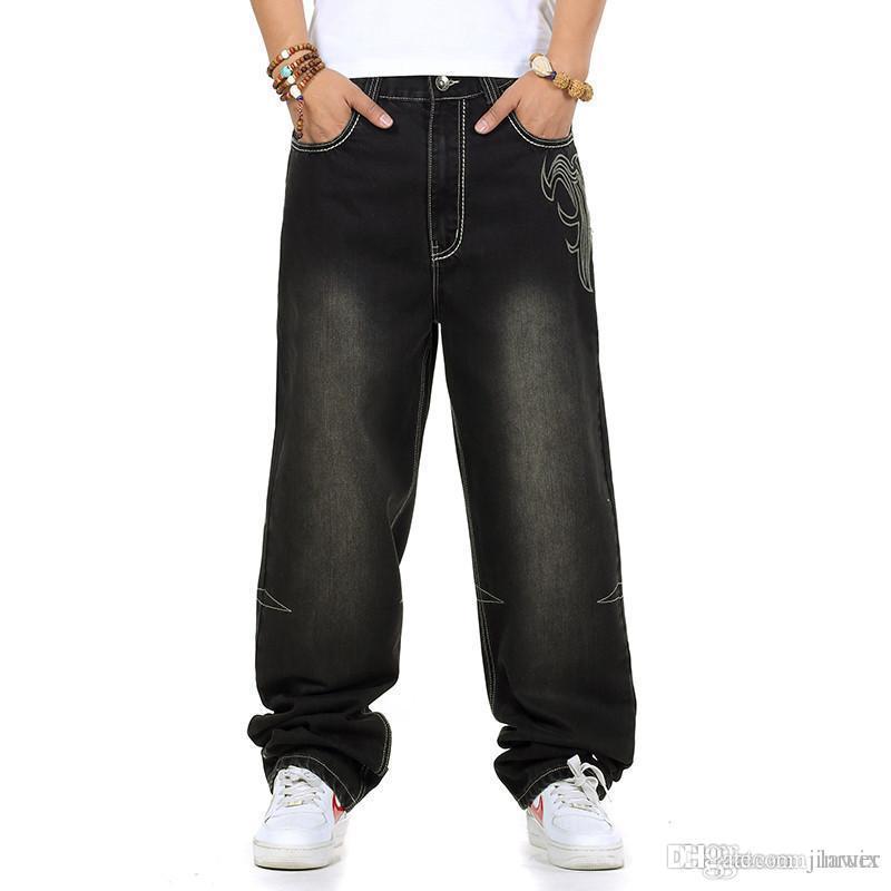 Compre Pantalones Vaqueros Al Por Mayor De Los Hombres Al Por Mayor  Holgados Pantalones Vaqueros Ocasionales Del Rap Pantalones Sueltos Hip Hop  Estilo Flojo ... e0c39908df7