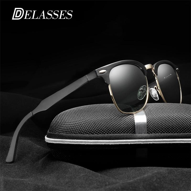 DELASSES Retro Rivet Aluminum Magnesium Polarized Sunglasses Men Classic Brand  Designer Unisex Sun Glasses Eyewear Oculos De Sol John Lennon Sunglasses ... 3ce2c55a67