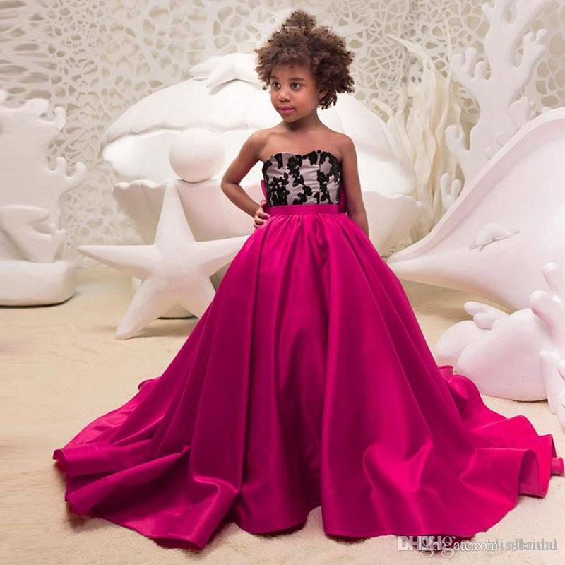 2bcf5054fdc7 2018 Fuchsia Girl Pageant Dresses Strapless Black Applique Girls ...