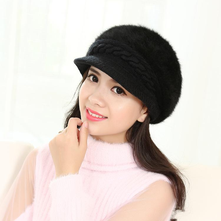 4214eb1a 2018 New Winter Hats Ladies Thick Patterned Rabbit Hair Knitted Hats ...