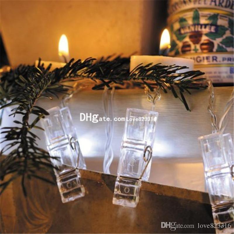 2M 20 LED 화환 카드 사진 클립 문자열 빛 새해 크리스마스 축제 파티 웨딩 램프 가정 훈장 빛 / lot를지도했다