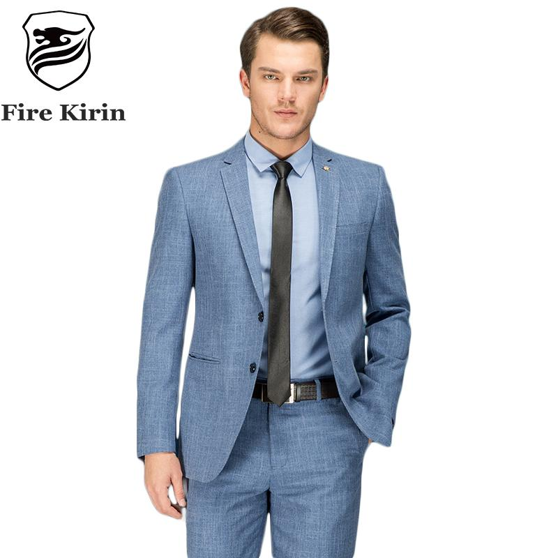 Fire Kirin Blue Suit Men 2017 Slim Fit Men Suits For Wedding Autumn Classic Formal Suits Brand Latest Coat Pant Designs Q101