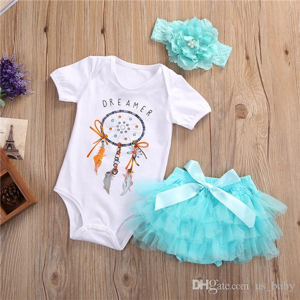 Baby Dreamer Romper Sets Toddler Girls White Romper Skirts Headbands Outfit Summer bloomer tutu shorts Outfits