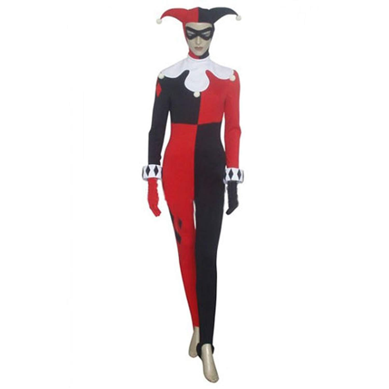 Women's Clown Costume Arkham Asylum Harley Quinn Cosplay Outfit