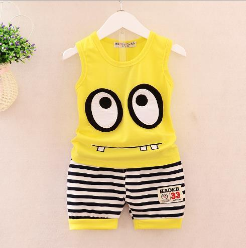 Best selling new boy in summer 1-4 year old big eye vest sports suit