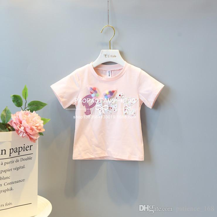 cute T-shirt 2018 INS hot styles New summer girl kids cute cotton flowers printed letter blouse kids elegant high quality t shirt