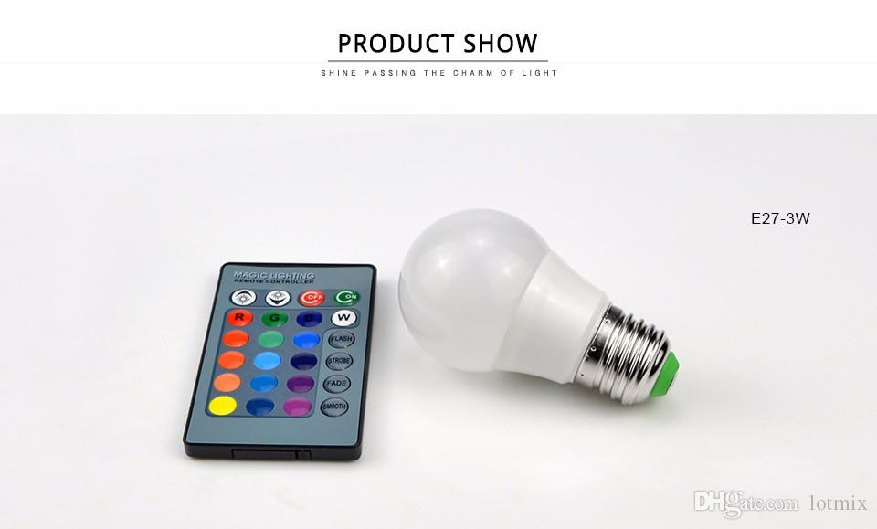 3W 10W RGB Etapa de luz LED E27 E14 GU10 85-265V 110V 220V Bombilla de luz de noche regulable con control remoto Para lámpara de hogar de vacaciones foco de luz