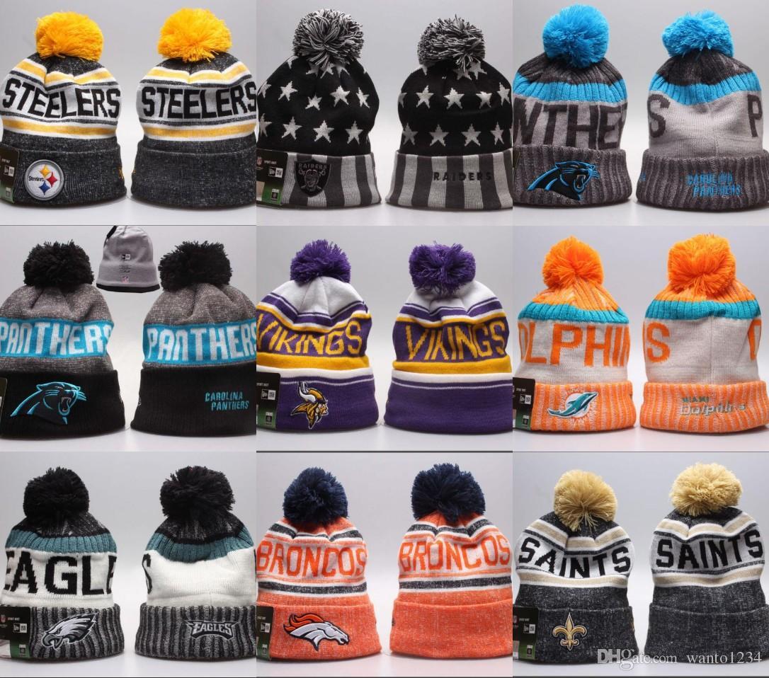 2b9c1a958d2f5 2018 Goo Fashion Football Beanies Team Skull Caps 2019 Winter Men ...